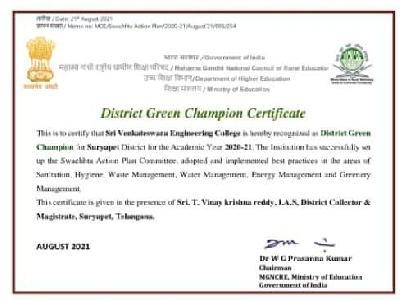 DISTRICT GREEN CHAMPION AWARD